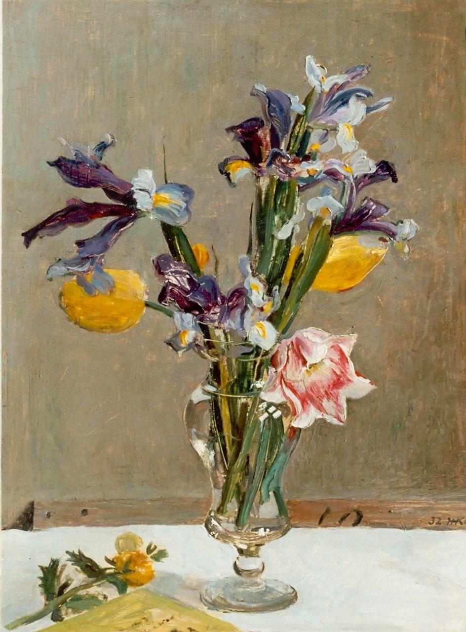 Kamerlingh onnes h h bloemen in een glazen vaas olieverf op paneel 45 5 x 34 2 cm - Glazen vergroting ...