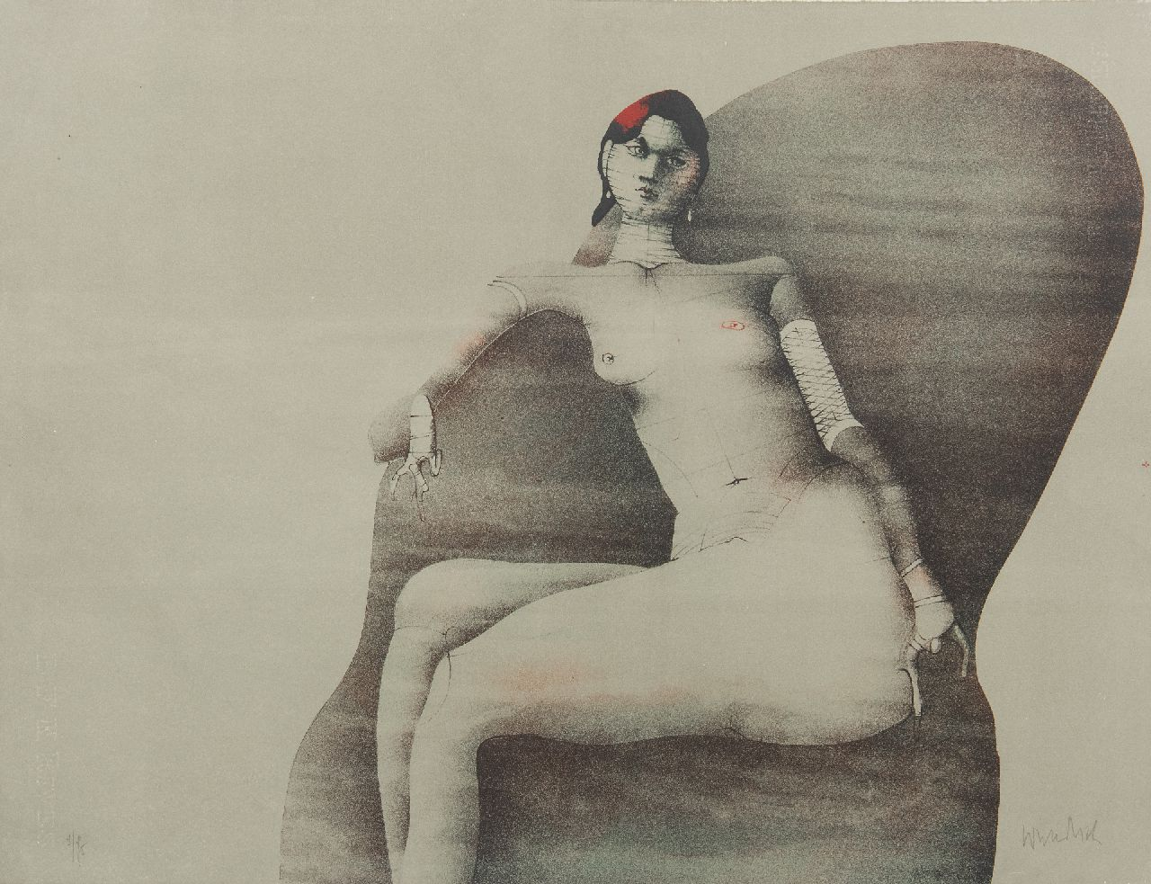 Paul Wunderlich | Joanna Posing for Redfern, 1968, litho op papier, 50,0 x 65,0 cm, gesigneerd r.o. (in potlood)