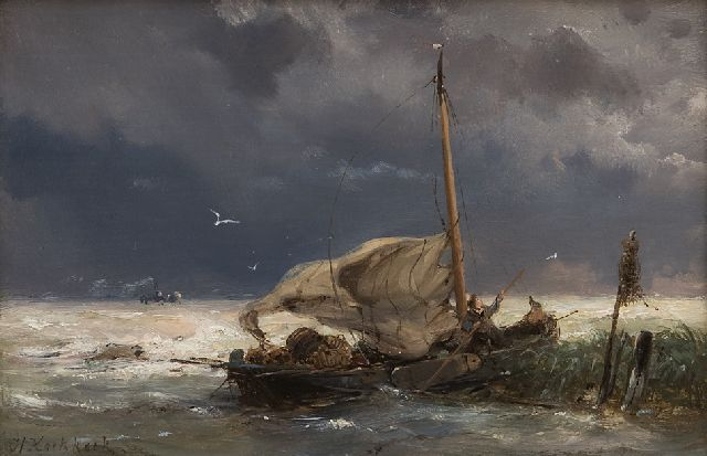 Koekkoek H.  | Fishing boat and steamer in a storm, oil on panel 10.7 x 16.0 cm, signed l.l.