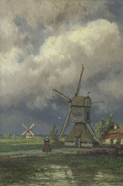 Koekkoek J.H.B.  | Polder-mills near Kortenhoef, oil on panel 49.5 x 33.0 cm., signed l.l.