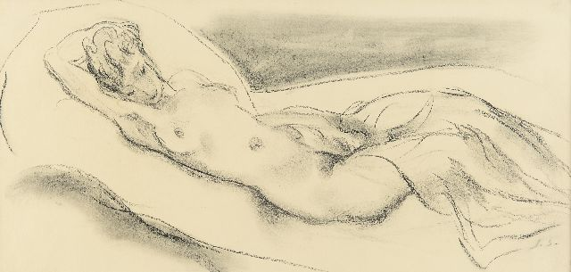 Sluijters J.C.B.  | Female nude, charcoal on paper 25.0 x 50.0 cm, signed l.r. with initials and executed ca. 1943