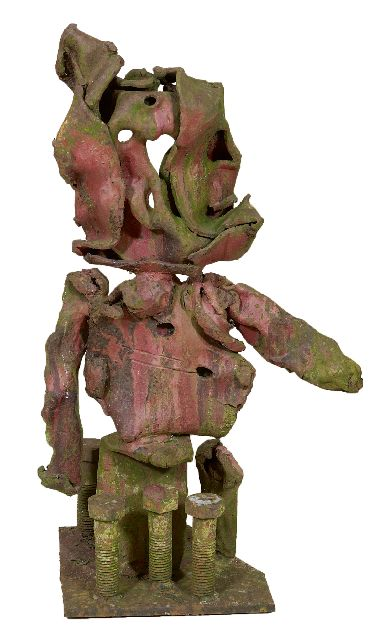 Niermeijer Th.  | A child standing, oxidated and painted steel 58.2 x 32.5 cm., gesigneerd