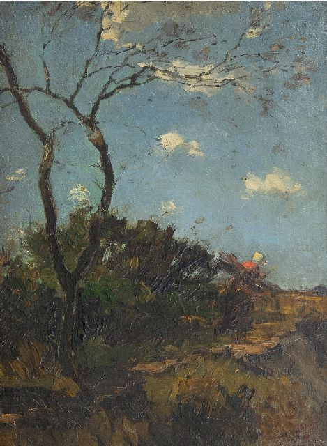 Zwart W.H.P.J. de | Gathering wood in the dunes, oil on panel 32.0 x 24.1 cm, signed l.r.