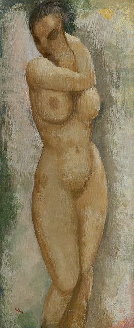 Kelder A.B.  | Naked woman standing, oil on canvas 70.3 x 30.5 cm, signed l.l.