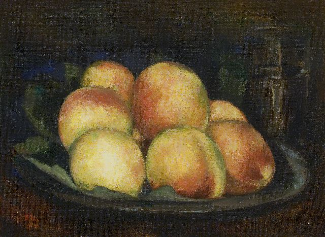 Kelder A.B.  | Peaches in a tin dish, oil on canvas 32.3 x 43.3 cm, signed l.l. and dated '40