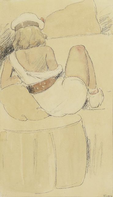 Kloos C.  | A young woman in a white dress and a beret, pencil and watercolour on paper 31.1 x 17.9 cm., signed l.r.