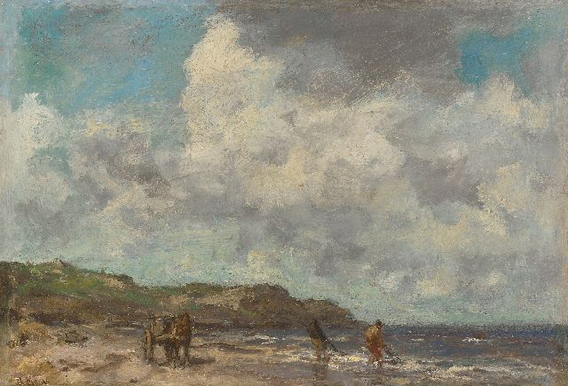 Maris J.H.  | Shell fishermen in the breakers, oil on panel 26.3 x 37.5 cm, signed l.l.