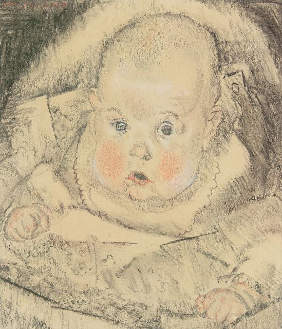 Sluijters J.C.B.  | Portrait of a baby, charcoal and chalk on paper 29.0 x 25.3 cm, signed u.l.