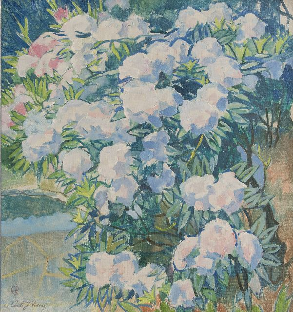 Patoux E.J.  | White Azalea japonica, oil on canvas 75.8 x 70.5 cm., signed l.l. with monogram and in full