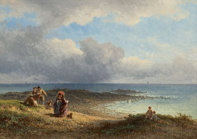 Hilverdink J.  | Elegant figures at the French coast, oil on panel 23.6 x 34.2 cm., signed l.l. and dated 1873