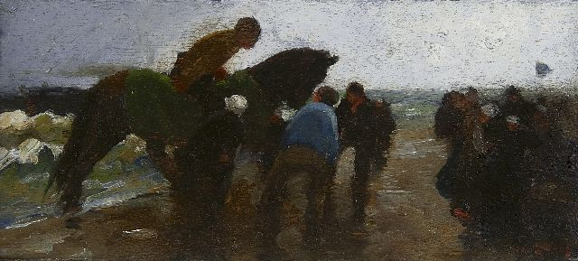 Zwart W.H.P.J. de | At the beach, oil on panel 11.8 x 26.5 cm, signed l.r. and painted circa 1893-1894