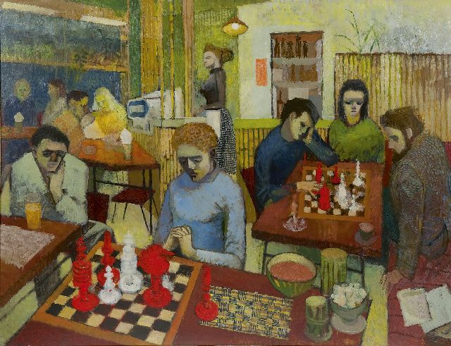 Europese School, 20e eeuw   | Chess at the café, oil on painter's board 68.4 x 91.6 cm, signed l.r. with initials 'R.S.' and dated 1956