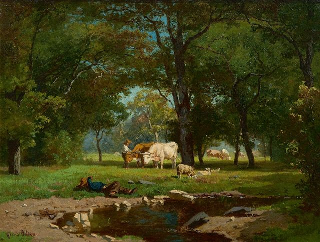 Bilders A.G.  | Cowherds and cattle in a forest, oil on canvas 31.0 x 41.2 cm, signed l.l. and te dateren begin jaren 60