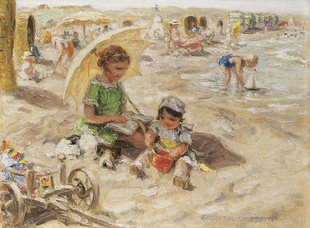 Zoetelief Tromp J.  | A day at the beach, oil on canvas 30.0 x 40.0 cm, signed l.r. and on the reverse