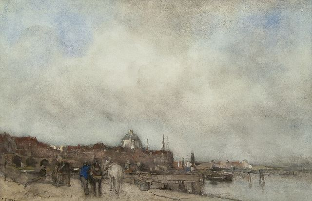 Maris J.H.  | A view of a town with a domed church, watercolour on paper 34.5 x 53.5 cm, signed l.l.