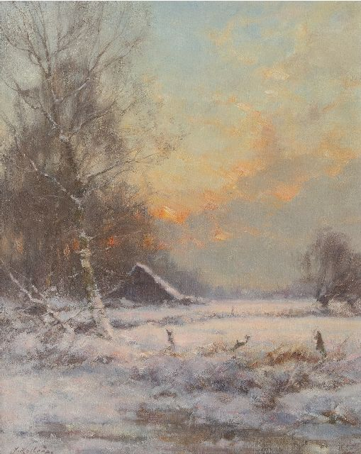 Holtrup J.  | A snowy landscape, oil on canvas 50.3 x 40.3 cm., signed l.l.