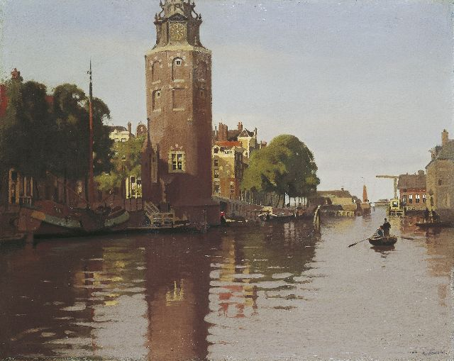 Witsen W.A.  | The Montelbaanstoren on the Oude Schans in summer, oil on canvas 80.0 x 101.0 cm, signed l.r. and painted circa 1913