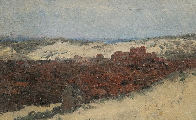 Mesdag H.W.  | Sketch of Scheveningen - Study for Panorama Mesdag (not for sale), oil on canvas laid down on panel 20.0 x 31.5 cm, painted  ca. 1880