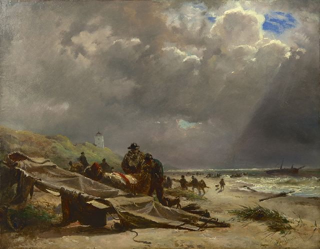 Deventer W.A. van | Shipwreck on the beach of Katwijk, oil on paper laid down on painter's board 46.3 x 59.6 cm, signed l.r. and dated '44