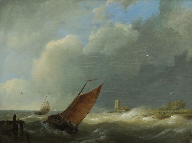 Koekkoek H.  | Sailing vessels in choppy coastal waters, oil on panel 18.7 x 24.8 cm, signed l.l. with initials