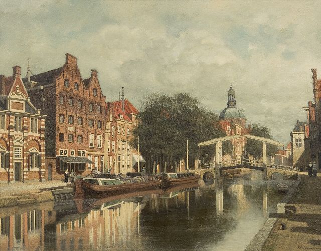 Klinkenberg J.C.K.  | A view of Leiden with the Hooglandse Kerkgracht and the Zijlpoort, oil on panel 39.3 x 51.0 cm., signed l.r.