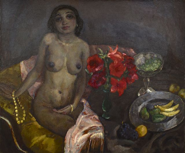 Sluijters J.C.B.  | Seated nude with still life, oil on canvas 116.7 x 140.3 cm, signed c.l. and painted ca. 1927