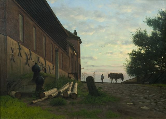Willemsen W.J.  | Workman and his horses on the Rijnkade, Arnhem, oil on canvas 50.5 x 69.9 cm, signed l.r.