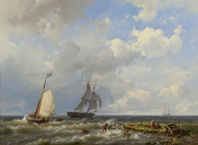 Koekkoek H.  | Sailing vessels near the coast, oil on canvas 55.6 x 75.4 cm, signed l.r. and dated 1858
