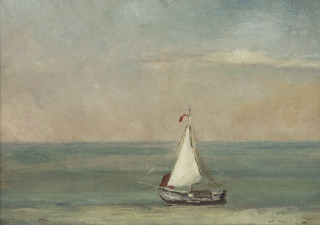 Mesdag H.W.  | A quiet sea wit a sailing vessel, oil on paper laid down on panel 21.8 x 30.2 cm