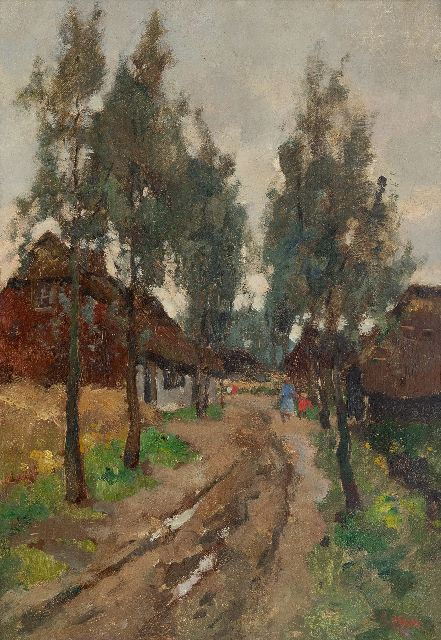 Noltee B.C.  | A village la with figures, oil on canvas 50.2 x 35.1 cm., signed l.r.
