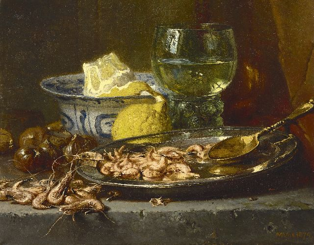 Vos M.  | A still life with shrimps and a goblet, oil on canvas 33.5 x 42.0 cm, signed l.r. and dated 1874