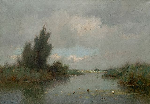 Knikker A.  | A polder landscape with water lilies, oil on canvas 70.3 x 100.4 cm., signed l.l.