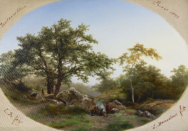Hanedoes/Rochussen L./C.  | In the forest of Fontainebleau, oil on canvas 73.5 x 106.5 cm, signed l.r. and on the reverse and dated 1852 l.r. and on the reverse