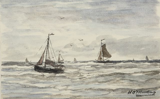 Mesdag H.W.  | Fishing boats in the surf, Scheveningen, watercolour on paper 13.2 x 21.0 cm, signed l.r.