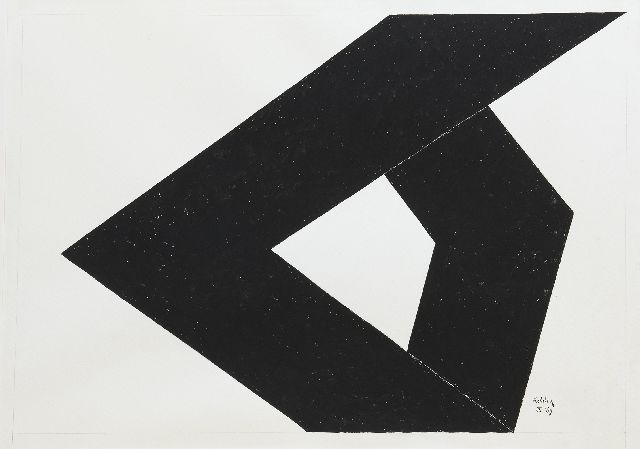 Kelder A.B.  | Abstract composition, Indian ink on paper 67.0 x 94.7 cm, signed l.r. and dated IX '69