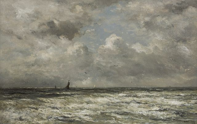 Mesdag H.W.  | The North Sea with fishing boats in the distance, oil on panel 69.7 x 109.0 cm, signed l.r.
