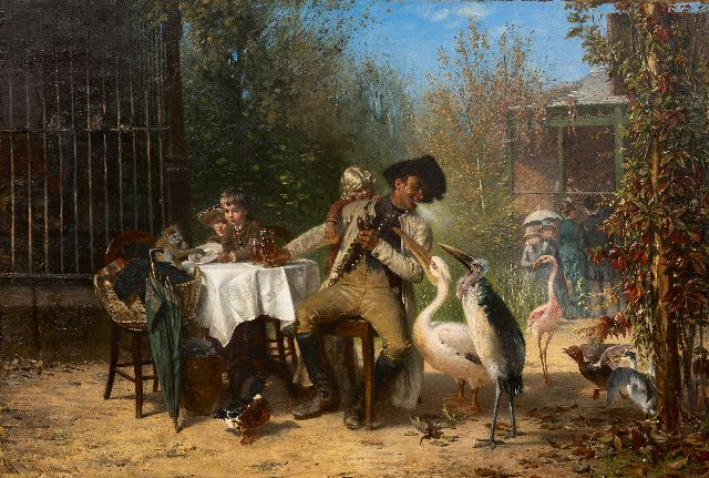 Schaumann W.H.  | At the zoo, oil on canvas 67.4 x 100.4 cm., signed l.l.