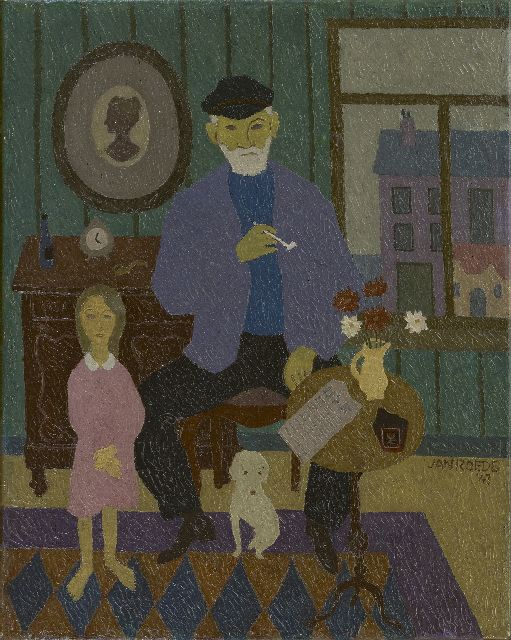 Roëde J.  | Grandfather and granddaughter, oil on canvas 50.5 x 40.4 cm, signed l.r. and dated '43