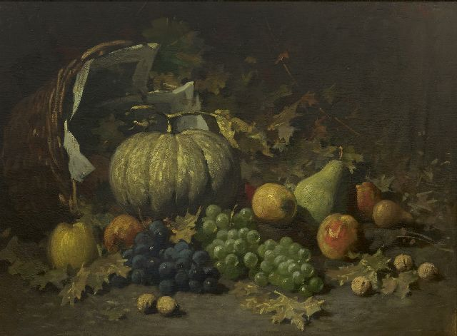 Kriens O.G.A.  | Still life with fruit on a forest ground, oil on canvas 54.4 x 73.0 cm., signed u.r.