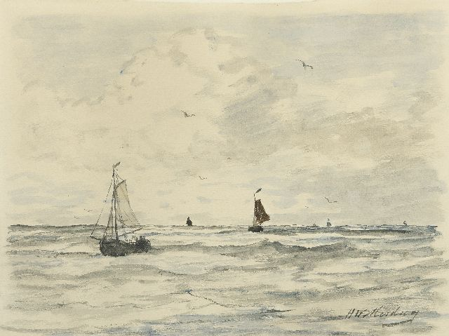 Mesdag H.W.  | Fishing boats at sea, watercolour on paper 23.7 x 31.0 cm., signed l.r.
