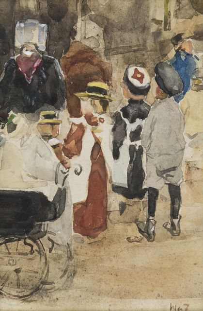 Zwart W.H.P.J. de | Nanny with children and stroller, watercolour on paper 19.1 x 12.8 cm, signed l.r. with initials