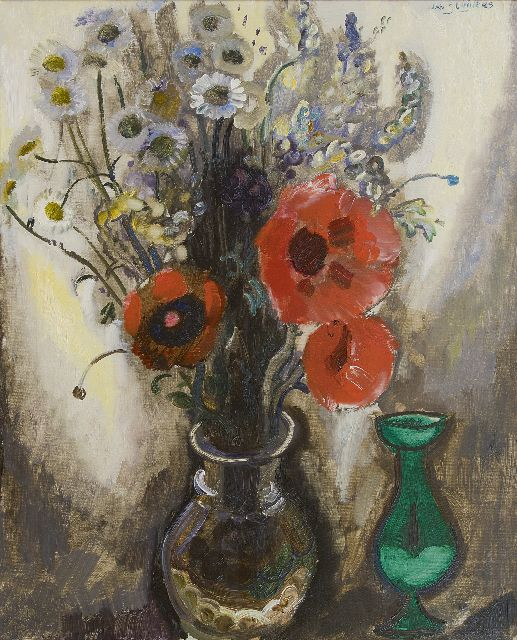 Sluijters J.C.B.  | A still life with poppies and daisies, oil on canvas 72.5 x 58.6 cm, signed u.r. and on the stretcher