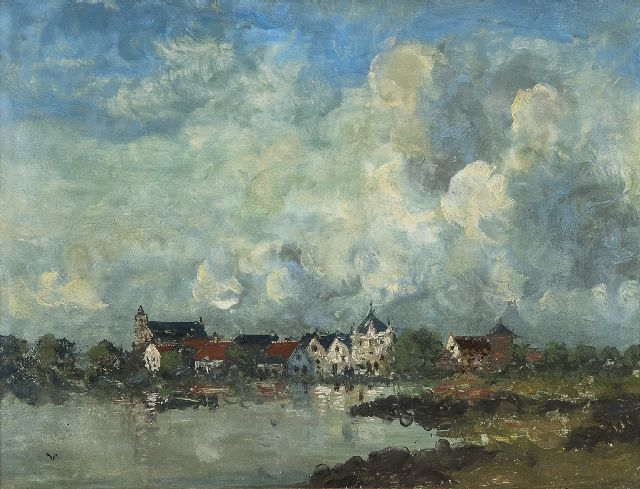 Voerman sr. J.  | A view of Hattem, oil on panel 30.5 x 39.7 cm, signed l.l. with initial