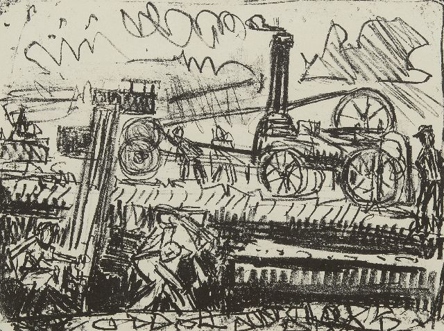 Jan van der Zee | Oogstmachines, litho op papier, 37,0 x 47,3 cm, gesigneerd r.o. (in potlood) en gedateerd (in potlood) '53