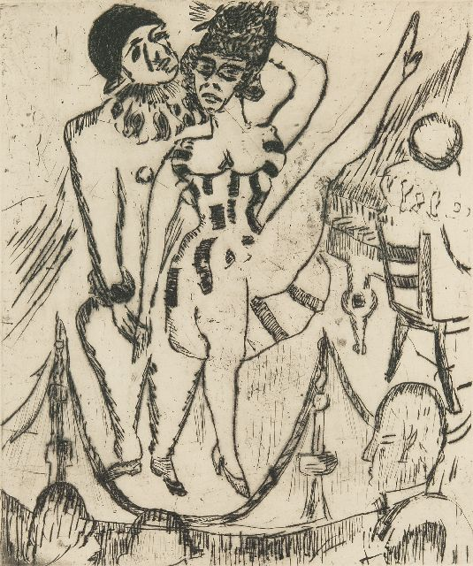 Jan Wiegers | Cabaret, ets, 26,0 x 21,8 cm, gesigneerd r.o. (in potlood) en gedateerd '24 (in potlood)