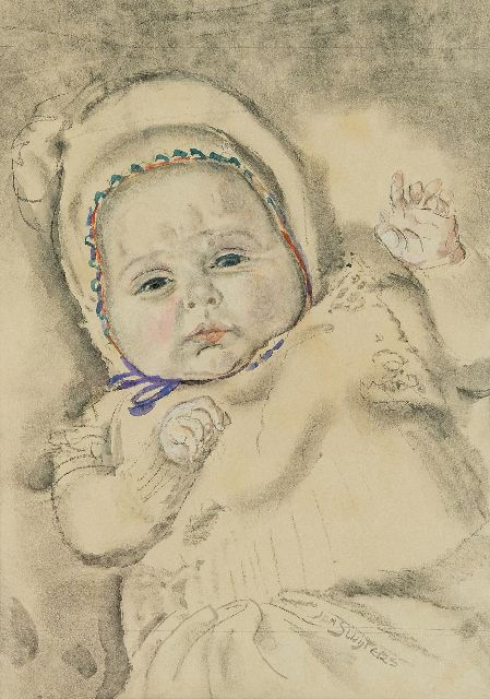 Sluijters J.C.B.  | A baby, charcoal and watercolour on paper 37.0 x 27.2 cm, signed l.r.