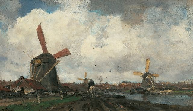 Maris J.H.  | Windmills along a canal, oil on canvas 38.3 x 64.9 cm, signed l.l.