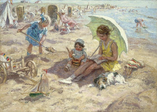 Zoetelief Tromp J.  | Children playing on the beach of Katwijk, oil on canvas 68.3 x 95.9 cm, signed l.r. and reverse