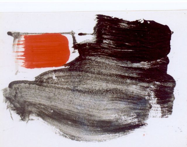 Brands E.A.M.  | Red window, Gouache auf Pappe 28,0 x 19,5 cm, signed on the reverse und dated 1995