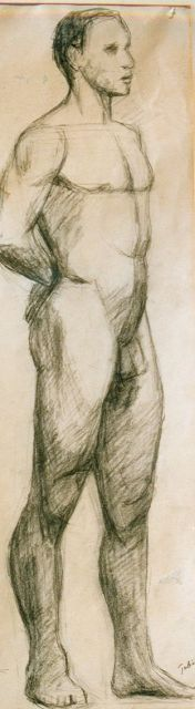 Onbekend, 1e helft 20e eeuw   | Study of a male nude, charcoal and chalk on paper 52.0 x 31.0 cm., signed l.r. 'Tobiasse'